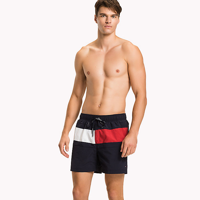 TOMMY HILFIGER Flag Design Swim Shorts - PVH BLACK - TOMMY HILFIGER Men - main image