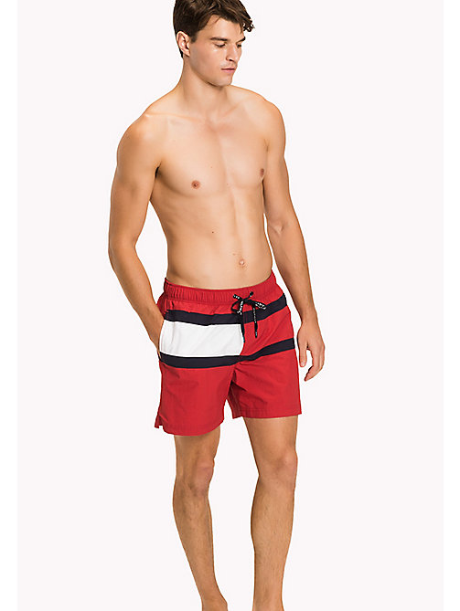 TOMMY HILFIGER Flag Design Swim Shorts - TANGO RED - TOMMY HILFIGER Swimwear - main image