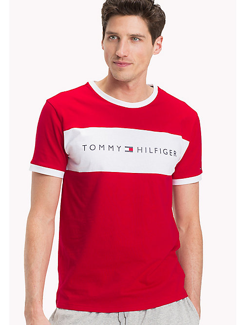 TOMMY HILFIGER Cotton Lounge T-Shirt - TANGO RED - TOMMY HILFIGER Pyjama Tops - main image