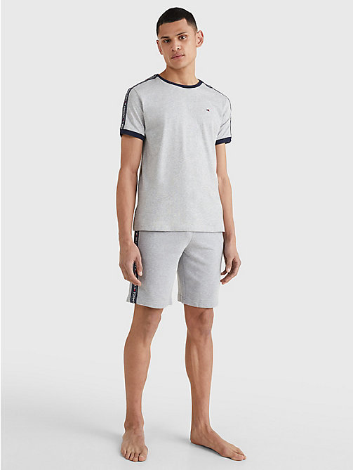 TOMMY HILFIGER Repeat Logo Tape T-Shirt - GREY HEATHER - TOMMY HILFIGER Basics - detail image 1