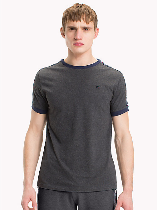 TOMMY HILFIGER Repeat Logo Tape T-Shirt - DARK GREY HTR - TOMMY HILFIGER Loungewear & Underwear - main image