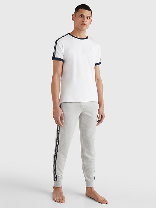TOMMY HILFIGER Repeat Logo Tape T-Shirt - WHITE - TOMMY HILFIGER Pyjama Tops - detail image 1