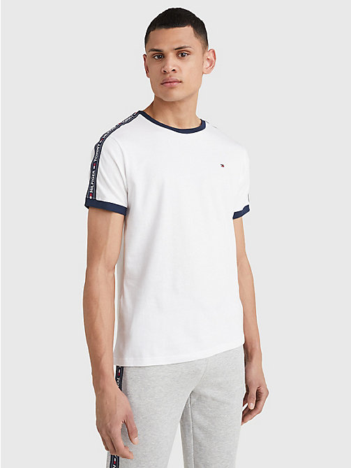TOMMY HILFIGER Repeat Logo Tape T-Shirt - WHITE - TOMMY HILFIGER Basics - main image