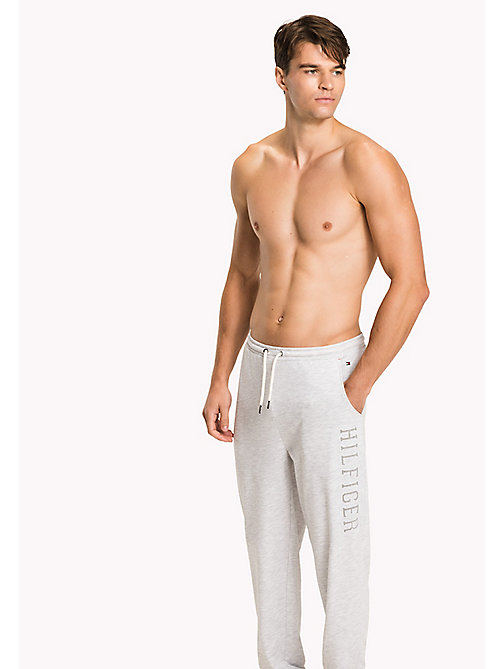TOMMY HILFIGER Cotton Terry Sweatpants - WHITE HEATHER BC01 - TOMMY HILFIGER Pyjama Bottoms - main image