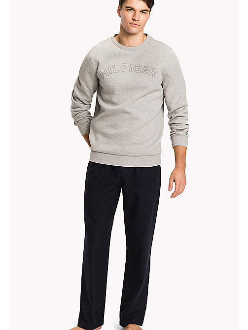 TOMMY HILFIGER Bonded Jersey Jumper - GREY HEATHER - TOMMY HILFIGER Pyjama Tops - main image