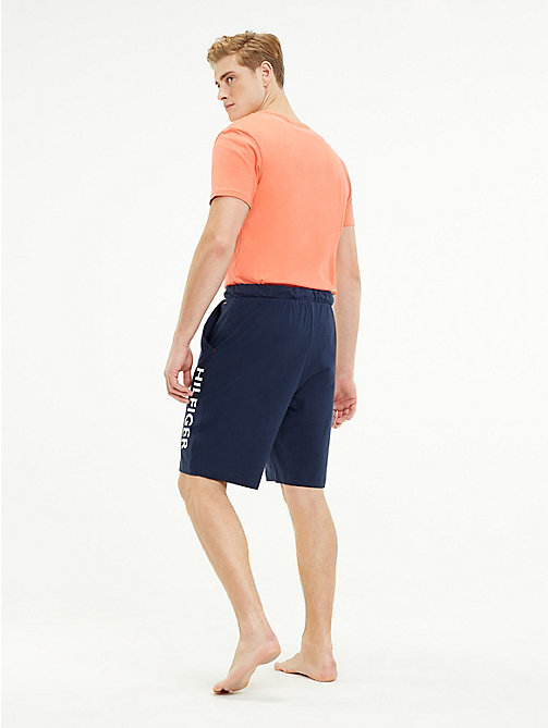 TOMMY HILFIGER Cotton Contrast Pyjama Shorts - DEEP SEA CORAL/NAVY BLAZER - TOMMY HILFIGER Clothing - detail image 1