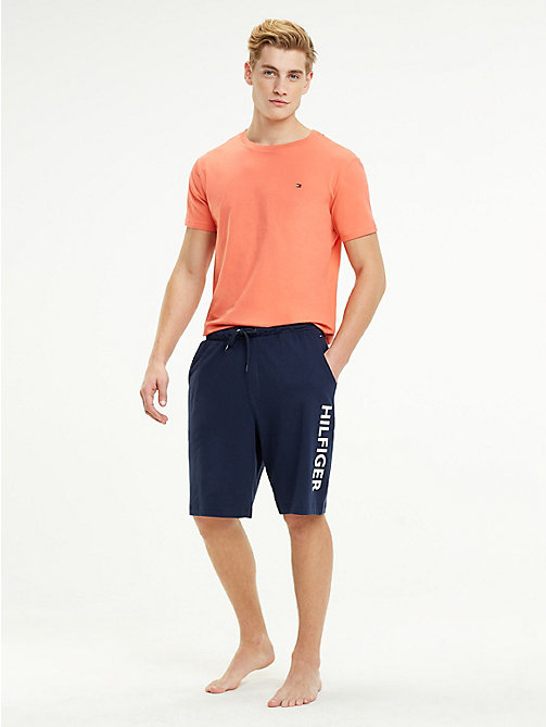 TOMMY HILFIGER Cotton Contrast Pyjama Shorts - DEEP SEA CORAL/NAVY BLAZER - TOMMY HILFIGER Underwear & Swimwear - main image