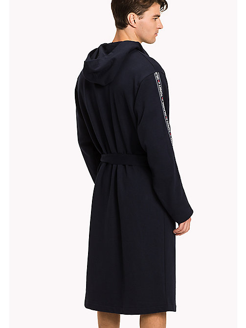 TOMMY HILFIGER Stretch Cotton Hooded Bathrobe - NAVY BLAZER - TOMMY HILFIGER Bathrobes - detail image 1
