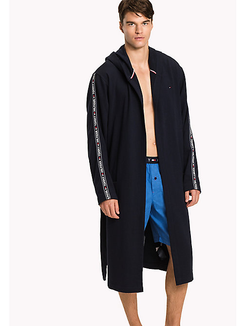 TOMMY HILFIGER Stretch Cotton Hooded Bathrobe - NAVY BLAZER - TOMMY HILFIGER Bathrobes - main image