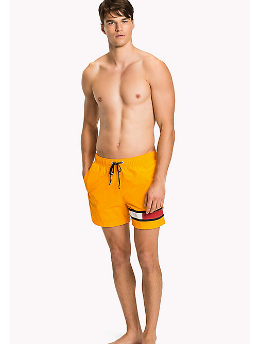 TOMMY HILFIGER Flag Leg Swim Shorts - BRIGHT MARIGOLD - TOMMY HILFIGER Swimwear - main image