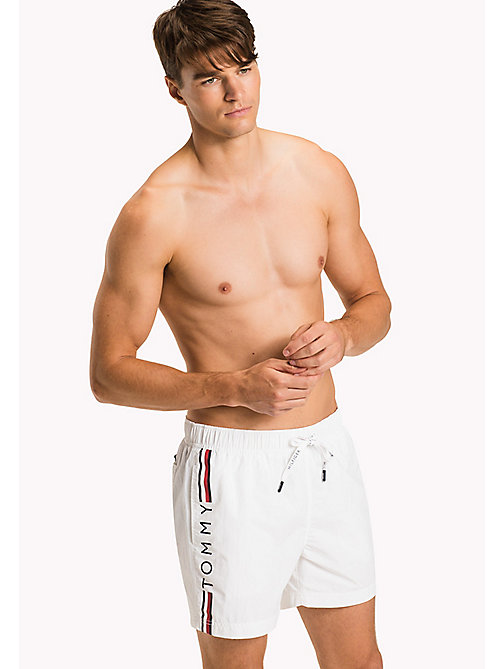 TOMMY HILFIGER Logo Leg Swim Shorts - BRIGHT WHITE - TOMMY HILFIGER Swimwear - main image