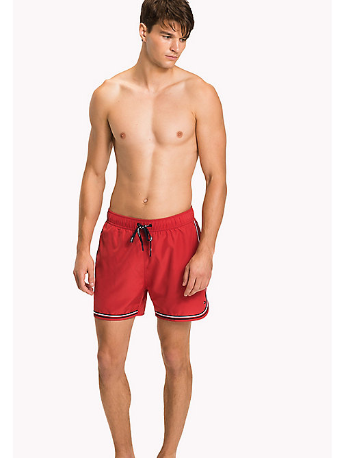 TOMMY HILFIGER Signature Stripe Swim Shorts - TANGO RED - TOMMY HILFIGER Swim styles - main image