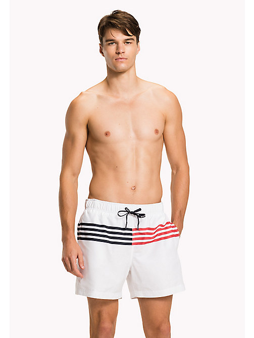 TOMMY HILFIGER Stripe Drawstring Swim Shorts - BRIGHT WHITE - TOMMY HILFIGER Swim styles - main image