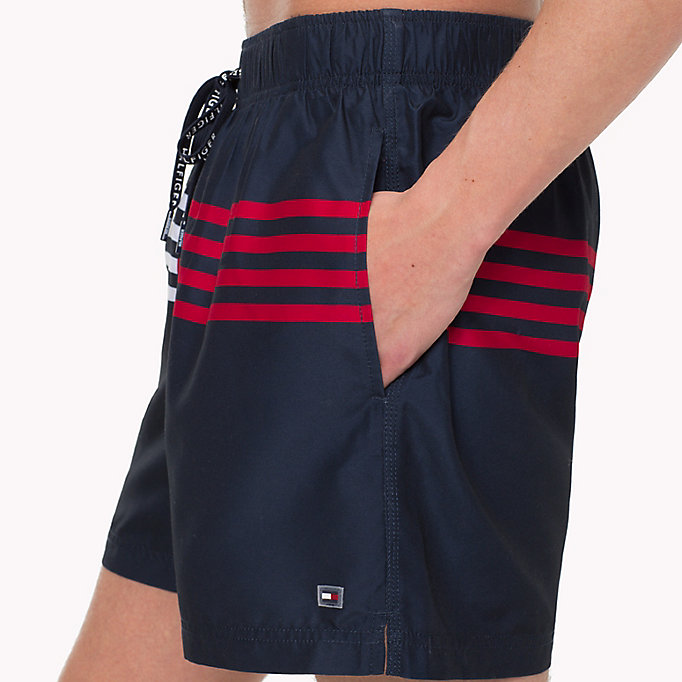 TOMMY HILFIGER Stripe Drawstring Swim Shorts - BRIGHT WHITE - TOMMY HILFIGER Clothing - detail image 2