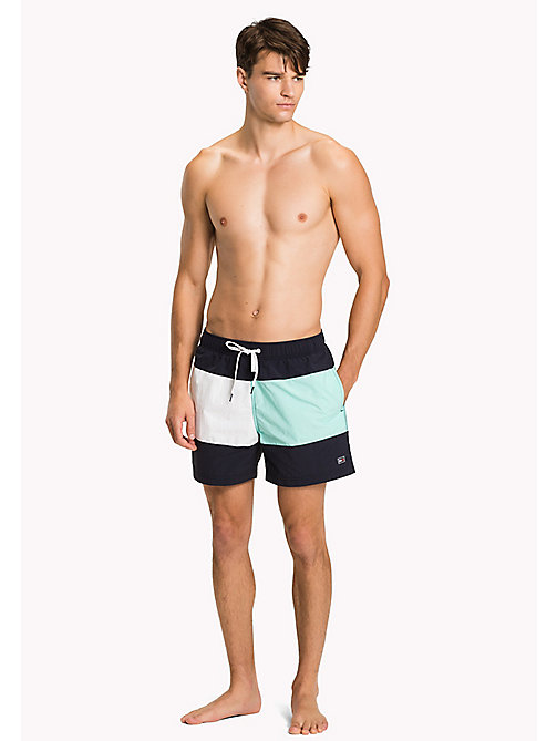TOMMY HILFIGER Colour-Blocked Swim Shorts - NAVY BLAZER-ARUBA BLUE - TOMMY HILFIGER Swimwear - main image