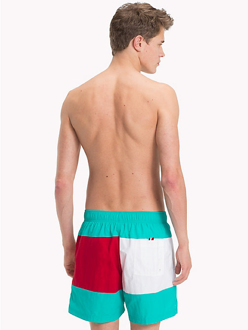 TOMMY HILFIGER Colour-Blocked Medium Swim Shorts - CERAMIC GREEN - TANGO RED - TOMMY HILFIGER Swimwear - detail image 1