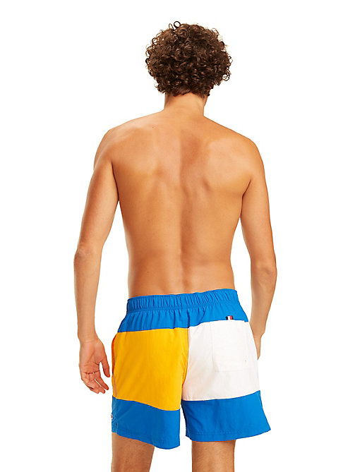 TOMMY HILFIGER Colour-Blocked Swim Shorts - LAPIS BLUE/BRIGHT MARIGOLD - TOMMY HILFIGER Swimwear - detail image 1