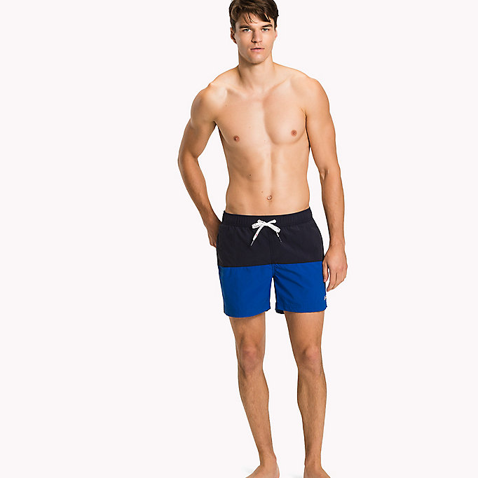TOMMY HILFIGER Colour-Blocked Swim Shorts - ARUBA BLUE/BRIGHT MARIGOLD - TOMMY HILFIGER Men - main image