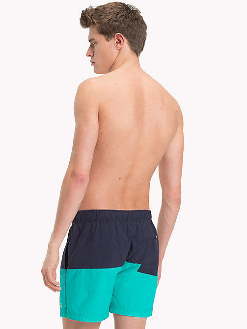TOMMY HILFIGER Colour-Blocked Short Swim Shorts - NAVY BLAZER - CERAMIC GREEN - TOMMY HILFIGER Swimwear - detail image 1