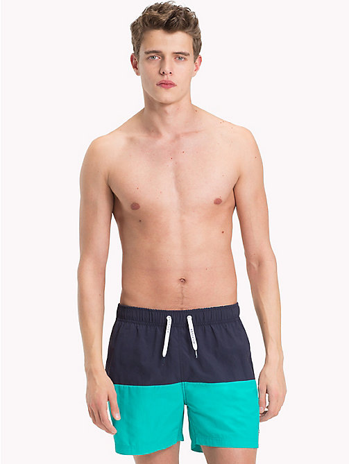 TOMMY HILFIGER Colour-Blocked Short Swim Shorts - NAVY BLAZER - CERAMIC GREEN - TOMMY HILFIGER Swimwear - main image