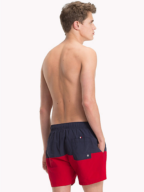 TOMMY HILFIGER Colour-Blocked Swim Shorts - NAVY BLAZER - TANGO RED - TOMMY HILFIGER Swimwear - detail image 1