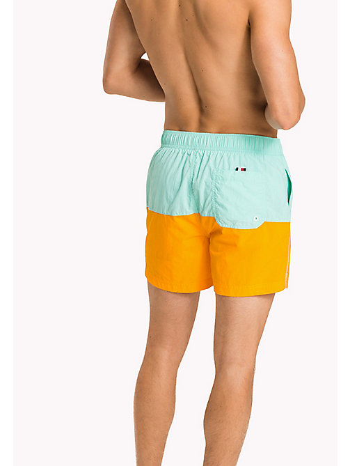 TOMMY HILFIGER Colour-Blocked Swim Shorts - ARUBA BLUE/BRIGHT MARIGOLD - TOMMY HILFIGER Swimwear - detail image 1