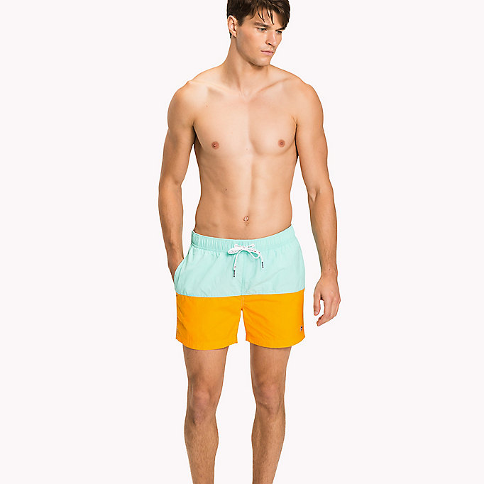 TOMMY HILFIGER Colour-Blocked Swim Shorts - FLAME SCARLET/ATOMIC BLUE - TOMMY HILFIGER Men - main image