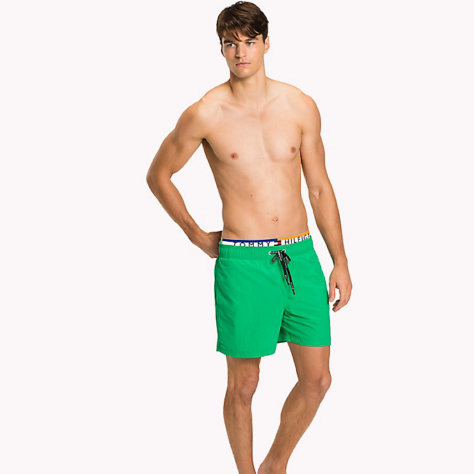 TOMMY HILFIGER Logo Waistband Swim Shorts - FLAME SCARLET - TOMMY HILFIGER Clothing - main image