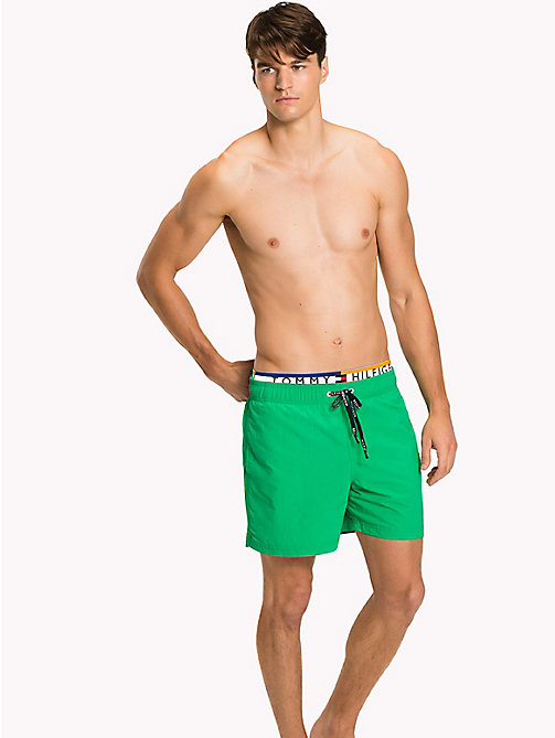 TOMMY HILFIGER Logo Waistband Swim Shorts - DEEP MINT - TOMMY HILFIGER Swimwear - main image
