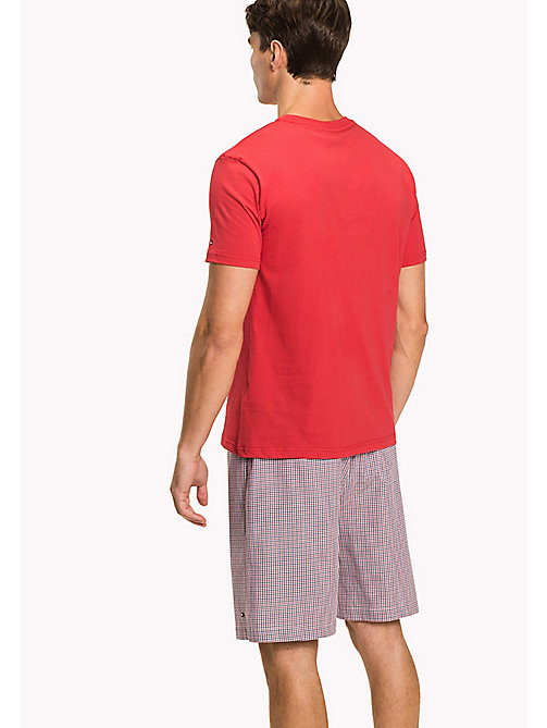 TOMMY HILFIGER Woven Cotton Pyjama Set - TANGO RED/TANGO RED - TOMMY HILFIGER Pyjamas - detail image 1