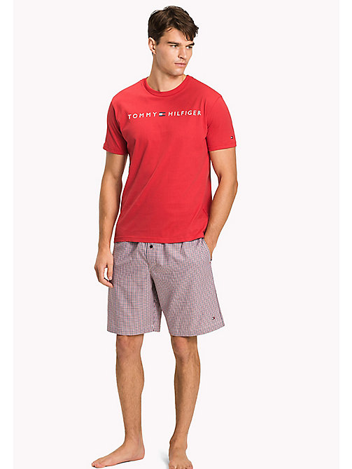 TOMMY HILFIGER Woven Cotton Pyjama Set - TANGO RED/TANGO RED - TOMMY HILFIGER Pyjamas - main image