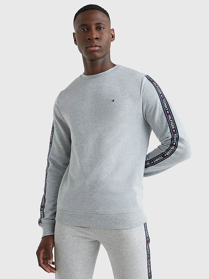 sweat à bande de logo gris pour men tommy hilfiger