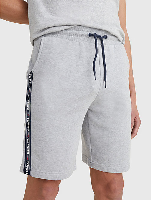 TOMMY HILFIGER Side Logo Drawstring Shorts - GREY HEATHER - TOMMY HILFIGER Pyjama Bottoms - main image