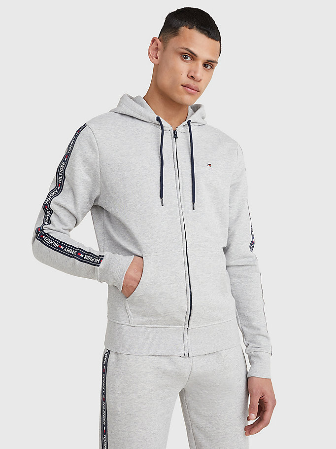grey logo tape hoody for men tommy hilfiger