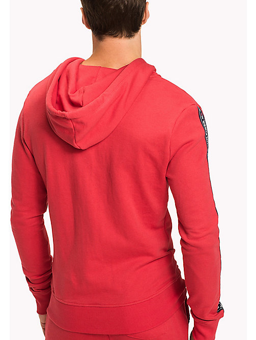 TOMMY HILFIGER Zip Thru Logo Hoody - TANGO RED - TOMMY HILFIGER Basics - detail image 1
