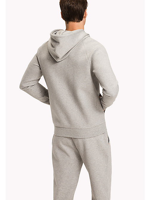 TOMMY HILFIGER Zip-Thru Hoodie - GREY HEATHER - TOMMY HILFIGER Pyjama Tops - detail image 1
