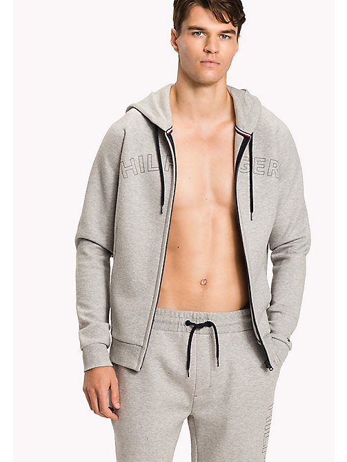TOMMY HILFIGER Zip-Thru Hoodie - GREY HEATHER - TOMMY HILFIGER Pyjama Tops - main image