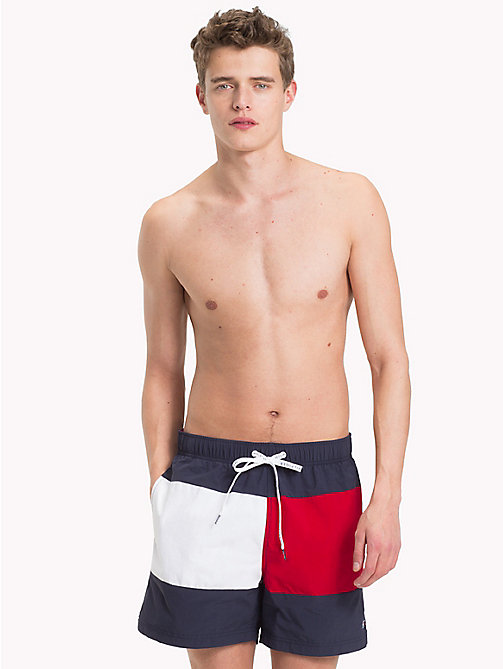 TOMMY HILFIGER Signature Medium Swim Shorts - NAVY BLAZER - TANGO RED - TOMMY HILFIGER Swimwear - main image