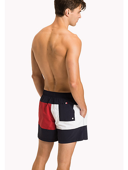 TOMMY HILFIGER Flag Print Swim Shorts - NAVY BLAZER - TANGO RED - TOMMY HILFIGER Swimwear - detail image 1
