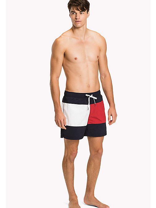 TOMMY HILFIGER Flag Print Swim Shorts - NAVY BLAZER - TANGO RED - TOMMY HILFIGER Swimwear - main image