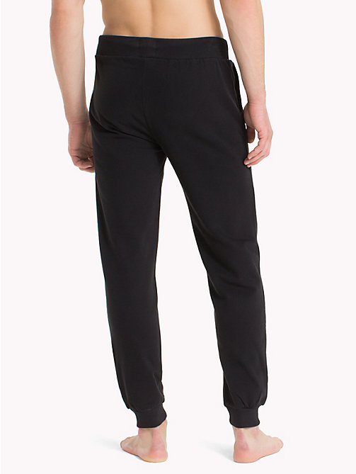 TOMMY HILFIGER Cotton Fleece Tracksuit Bottoms - BLACK - TOMMY HILFIGER Loungewear & Underwear - detail image 1