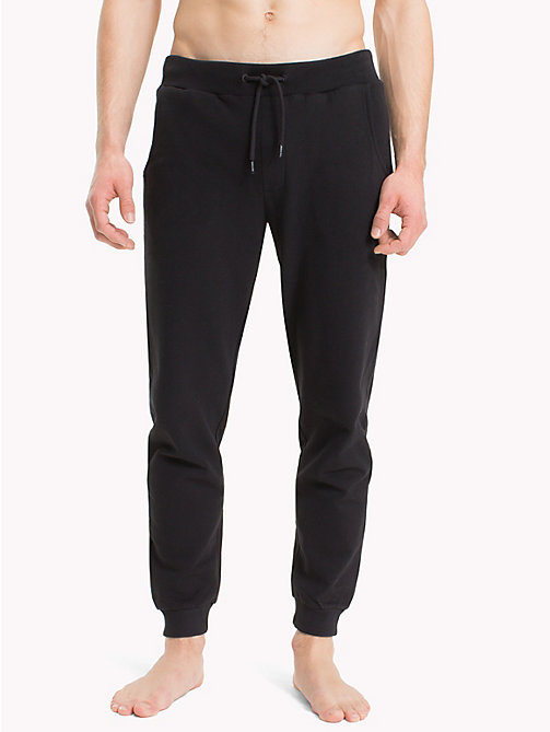 TOMMY HILFIGER Cotton Fleece Tracksuit Bottoms - BLACK - TOMMY HILFIGER Loungewear & Underwear - main image