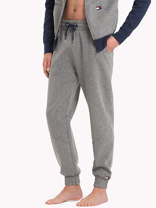 TOMMY HILFIGER Cotton Tapered Joggers - GREY HEATHER - TOMMY HILFIGER Pyjama Bottoms - main image
