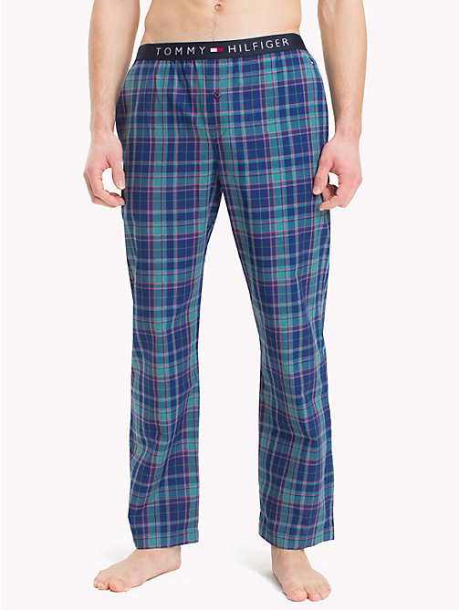 TOMMY HILFIGER Check Print Cotton Bottoms - SODALITE BLUE - TOMMY HILFIGER Pyjama Bottoms - main image