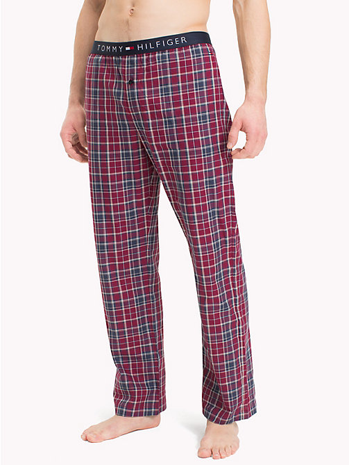 TOMMY HILFIGER Check Print Cotton Bottoms - DEEP CLARET - TOMMY HILFIGER Loungewear & Underwear - main image