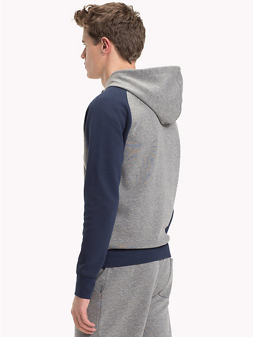 TOMMY HILFIGER Contrast Sleeves Zip-Thru Hoody - GREY HEATHER - TOMMY HILFIGER Pyjama Tops - detail image 1