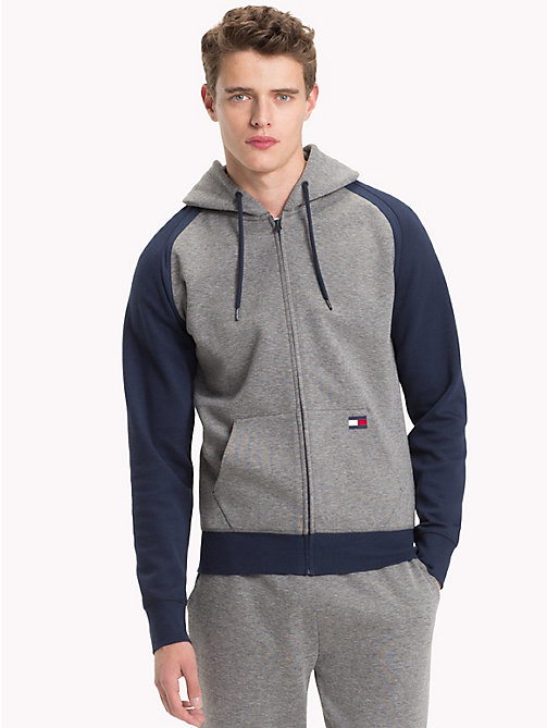 TOMMY HILFIGER Contrast Sleeves Zip-Thru Hoody - GREY HEATHER - TOMMY HILFIGER Pyjama Tops - main image