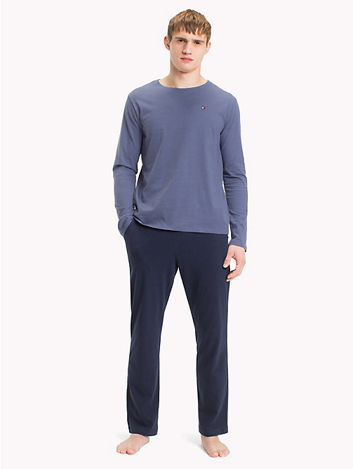TOMMY HILFIGER Pure Cotton Pyjama Set - NIGHTSHADOW BLUE/ NAVY BLAZER - TOMMY HILFIGER Loungewear & Underwear - main image