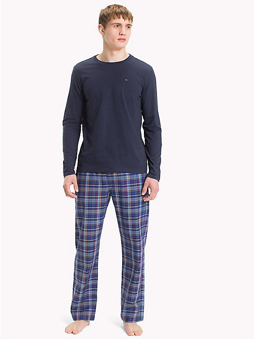 TOMMY HILFIGER Check Print Cotton Pyjama Set - NAVY BLAZER/ MAZARINE BLUE - TOMMY HILFIGER Underwear & Swimwear - main image
