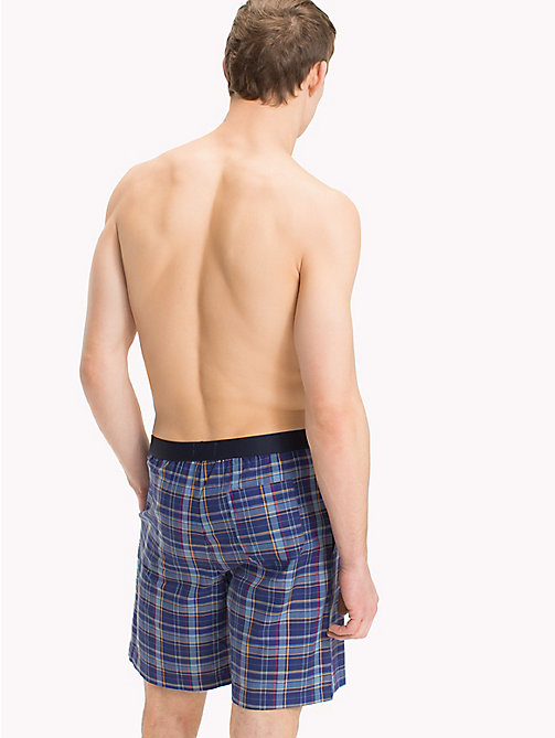 TOMMY HILFIGER Check Print Cotton Shorts - MAZARINE BLUE - TOMMY HILFIGER Loungewear & Underwear - detail image 1